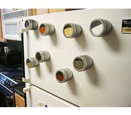 Set 6 Especieros Magneticos Tapa Transparente Iman Imantados
