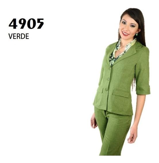Conjunto Saco Pantalón Dama 4905 Verde Uniformes