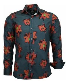 Camisa Social Slim Moscou Comfort Amil 100% Algodão Estampad