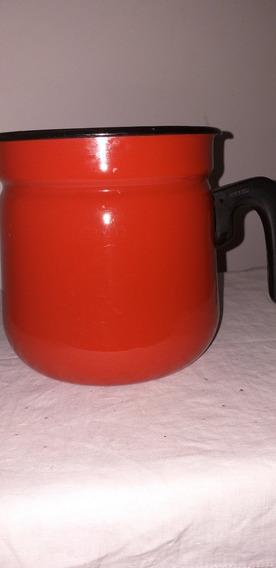 Lechera Enlozada Roja Vintage Ferrum 1.l Con Tapa