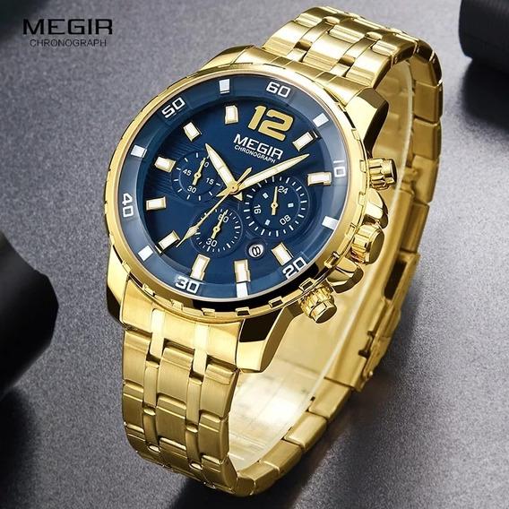 Relógio Masculino Cronógrafo Dourado Clássico Luxo Original