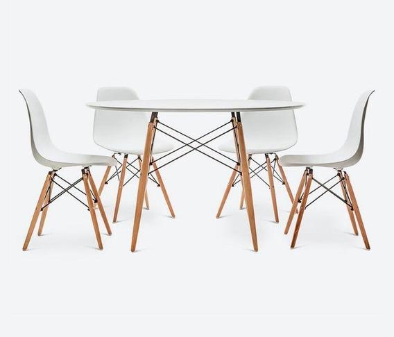Mesa Redonda Eames 120cm Em Laca Branca Fosca E 4 Cadeiras E