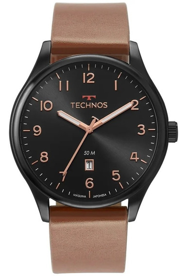 Relógio Technos Masculino Classic Steel Marrom 2115muz/2p Nf