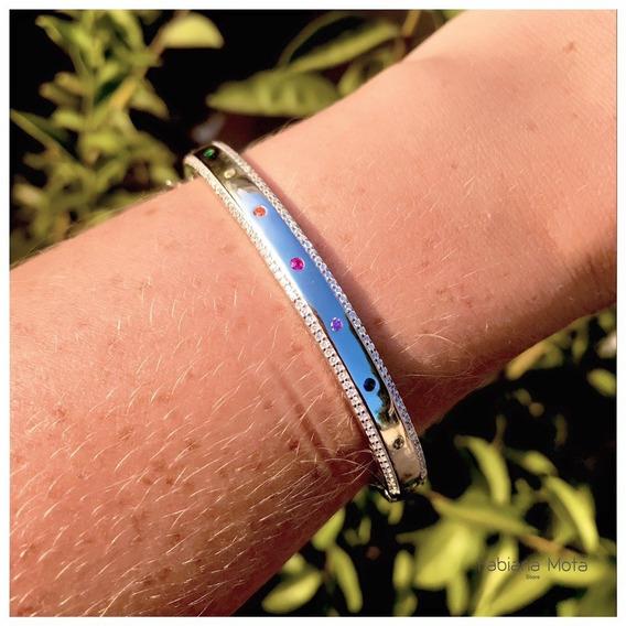 Bracelete Prata 925 Detalhes Bolinhas Coloridas