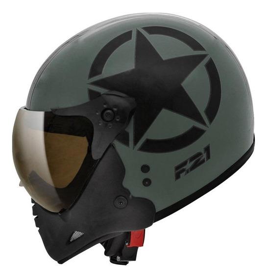 Capacete para moto escamoteável Peels F-21 Army verde-militar/preto S