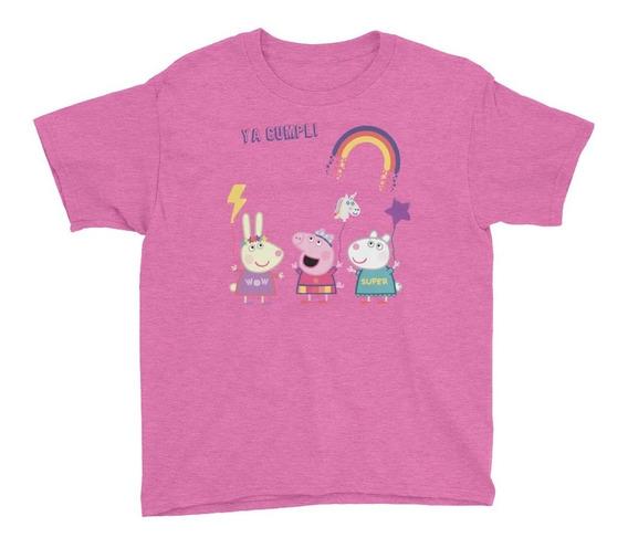 Personalízala Cumpleaños Peppa Pig Arcoiris Playera Niños