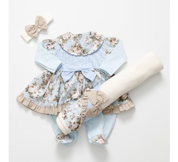 Kit Saída Maternidade Com Vestido Floral Azul E Marrom