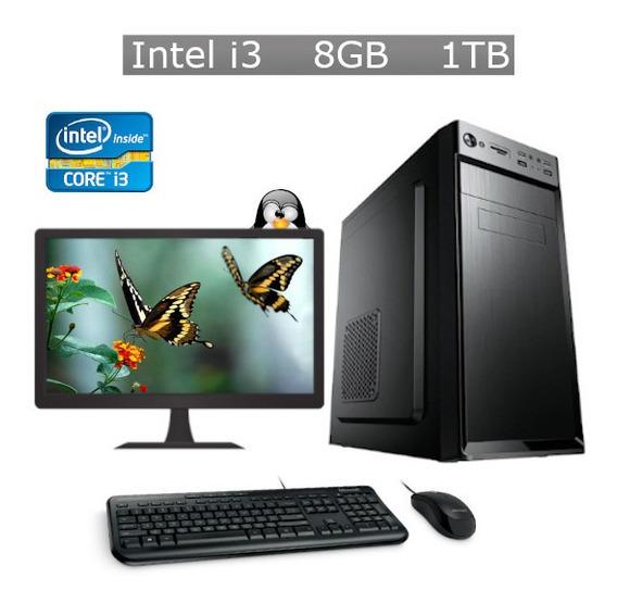 Pc Desktop Intel Core I3 8gb Hd 1tb + Kit + Monitor + Nf
