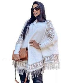 Blusa Poncho Kimono Tricot Tricô Inverno Lindo Femino Promo