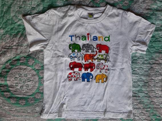 Playera Blanca Thailand Elefantes Niña Colour Kids Talla L