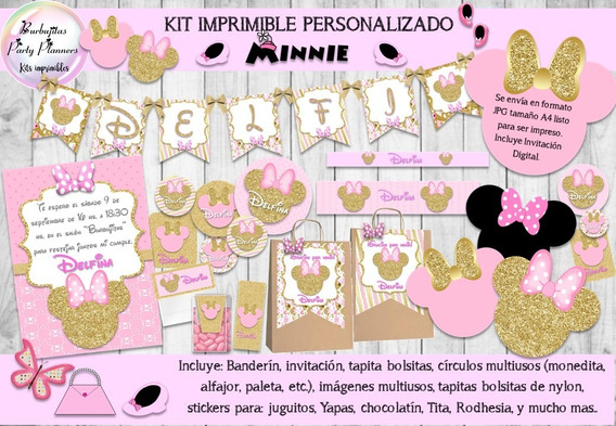 Kit Imprimible Candy Bar Minnie Rosa Y Dorado Personalizado