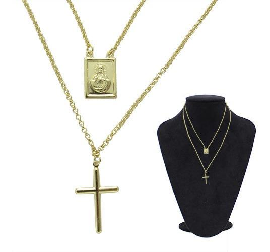 Gargantilha Com Crucifixo E Sagrado Coração