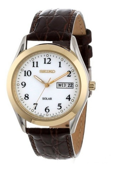 Relógio Unisex Seiko Solar Modelo Sne056 Tamanho 37 Couro
