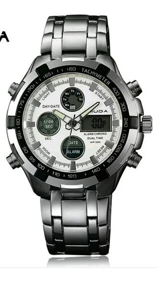 Relógio Luxo Dourado Prata Masculino Original Promoção Novo