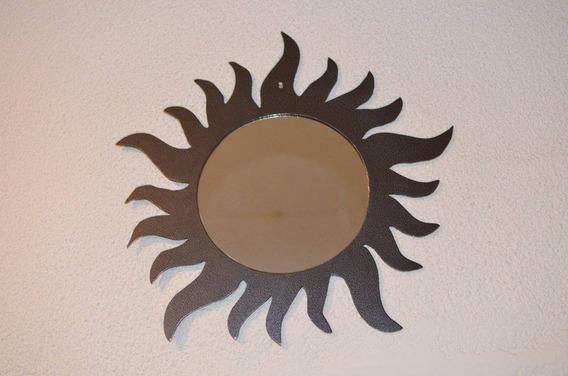 Espejo Decorativo Sol De Diseño En Metal