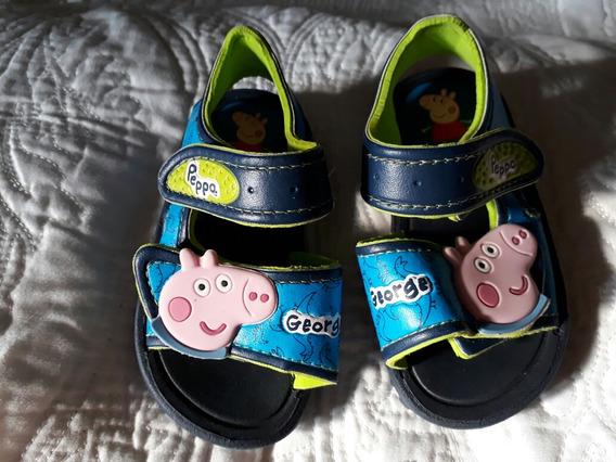 Sandália Papete Menino Tam 20 George Peppa Pig Usada 1 Vez