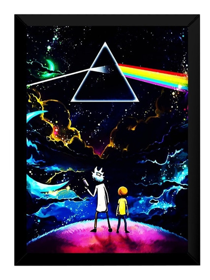 Quadro Arte Rick And Morty X Pink Floyd Moldura 42x29cm