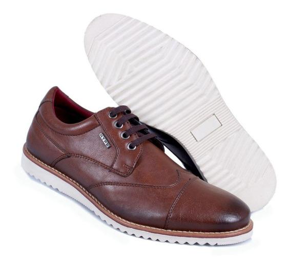 Sapatênis Oxford Sapato Masculino Casual Conhaque/azul