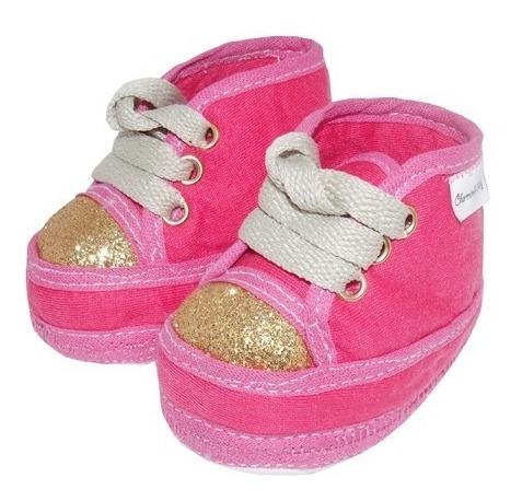 Sapatinho De Bebê Tênis Cano Alto Pink E Dourado