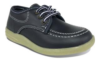 Zapato Colegial Croydon Cuero Azul Negro Niño Niña Uniforme