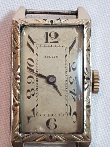 Relógio Pulso Vintage Com Banho De Ouro Suiço Thais 30883