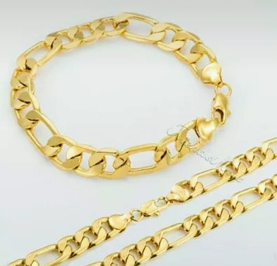 Pulseira+ Corrente Folheado A Ouro Ou Prata