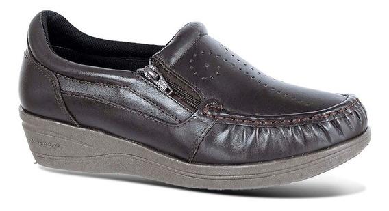 Mocassim Feminino 200 Em Couro Café Doctor Shoes