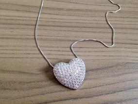 Colar De Coração Em Zirconia Com Ródio Branco