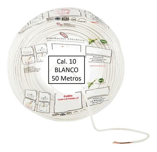 Imagen 1 de 1 de Bolsa 50 Mts Cable Iusa Blanco Thw Cal 10 Awg 100%cobre