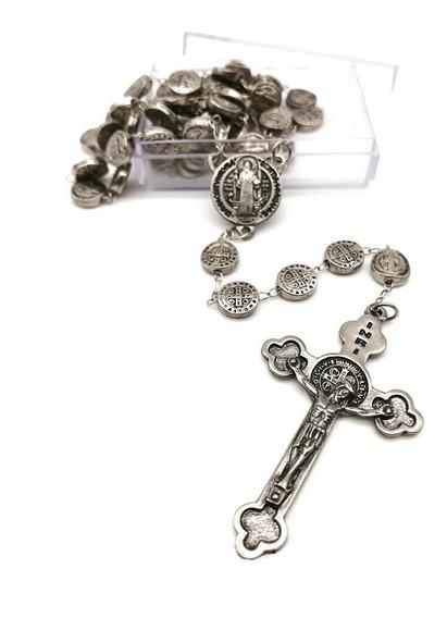 Terço De Metal Niquel Contas Medalha De São Bento