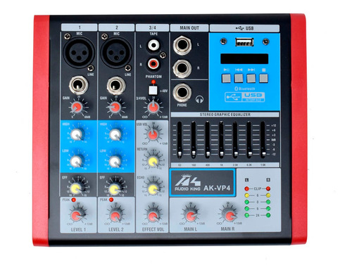 Ecualizador Mixer Consola Mesclador De Audio Ak-vp4  Blueto