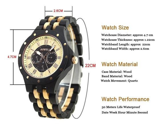 Relógio De Pulso De Madeira Bewell (masculino)