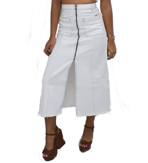 Saia Midi Longa Jeans Botão Frontal Cintura Alta @espaco.mia