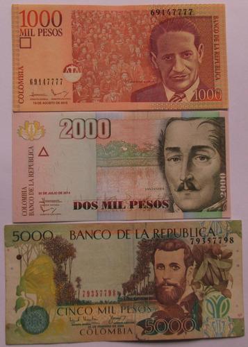 Trio De Billetes De Colombia 1000 -2000-5000 Pesos- L 92