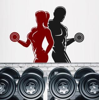 Adesivo Parede Academia Fitness Crossfit Homem Mulher Halter