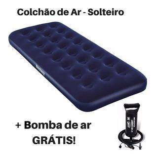 Colchão Inflável Solteiro + Bomba De Ar A Pronta Entrega