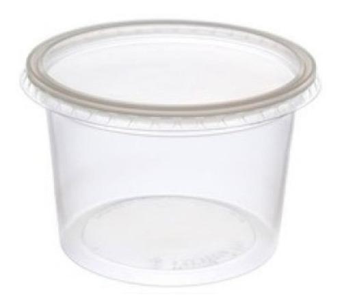 Pote Con Tapa Plastico Descartable 250ml X100u Copobras C
