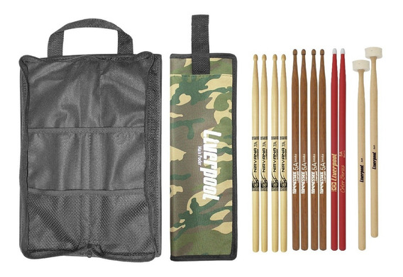 Kit Bag Com02 + Set De Baquetas 6 Pares Liverpool