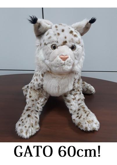 Gato Com 60cm Bicho Pelúcia Grande Real Presente Decoração