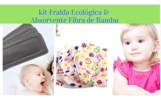 Kit03 Fralda De Pano Desfralde Piscina+03 Abs Fibra De Bambu