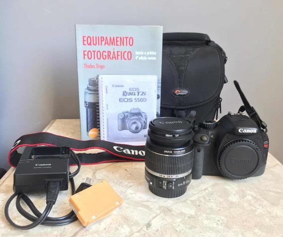 Kit Canon T2i 18-55 Mim Câmera Fotográfica Lente Fotografia