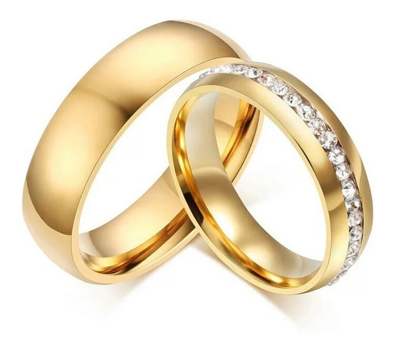 Par Aliança Tungstênio 6mm Pedra Banhada Ouro Qualidade