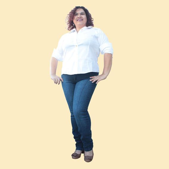 Calça Skinny Jeans Com Friso Stone Jeans Plus Size (46ao 60)