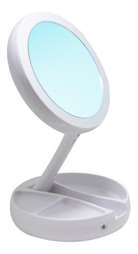 Espejo Doble Plegable Con Luz Led Lado Con Aumento X10