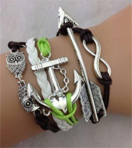 Pulseira Bracelete Couro - Branco/verde/marrom - Âncora