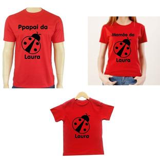 Kit 3 Camisas Joaninha Para Festa De Aniversario