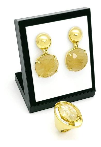 Anel E Brincos Cristal Rutilo Banho De Ouro 424 1075
