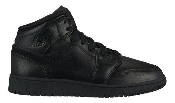 Tenis Nike Air Jordan 1 Mid 554725-090 Negro