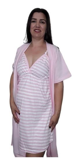 Camisola E Robe Gestante Maternidade Le Moncy