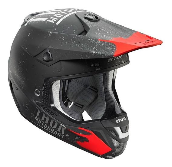 Capacete Motocross Trilha Thor Verge Object Preto/vermelho